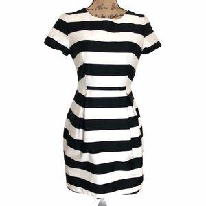 H&M Black and White Striped Dress Sz 10